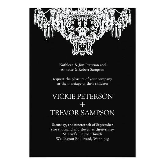 Black and White Chandelier Wedding Invitations