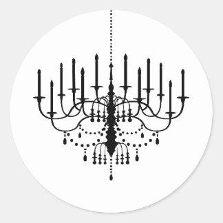 Black and White Chandelier Wedding Seal Classic Round Sticker