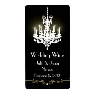 Black and White Chandelier Wedding Wine Labels
