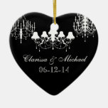 Black and White Chandeliers Customized Keepsake Ornament