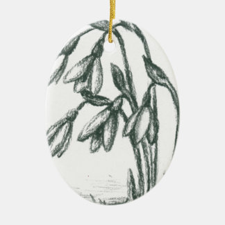 """""""black and white"""", charcoal, drawing, floral, flow ceramic ornament"""