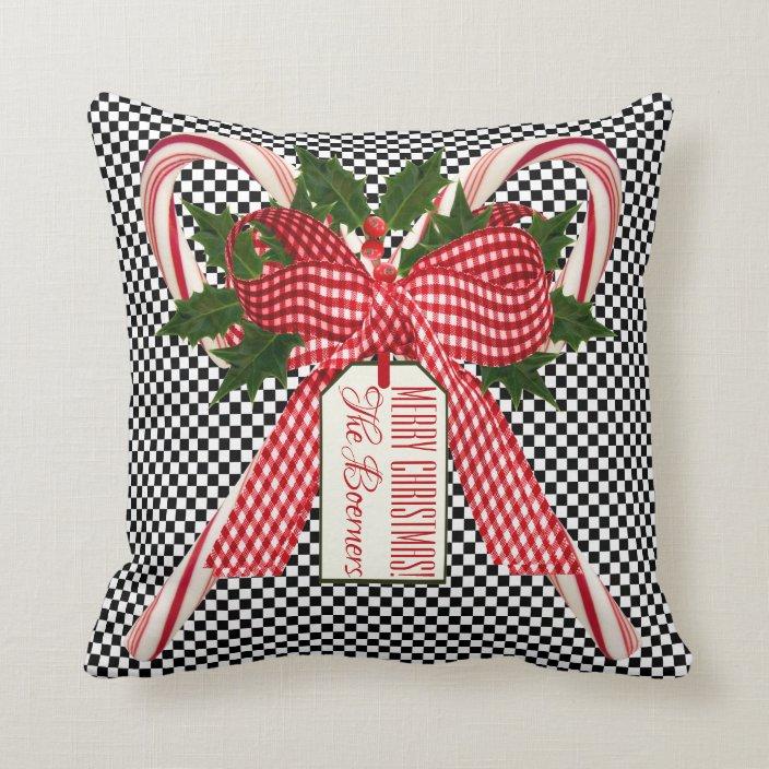 Black And White Check Candy Cane Christmas Bouquet Throw Pillow Zazzle Com