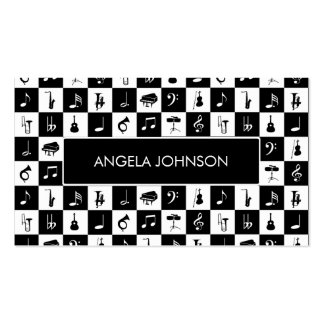 Black and white check music Instruments Business Card