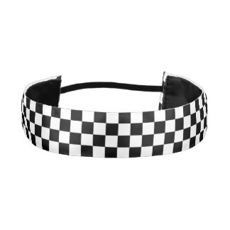 Black and White Check pattern Athletic Headband