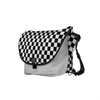 Black and White Check pattern Courier Bag