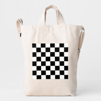 Black and White Check pattern Duck Bag