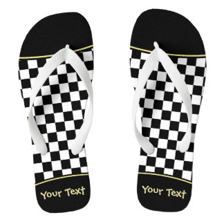 Black and White Check pattern Flip Flops