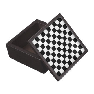Black and White Check pattern Gift Box