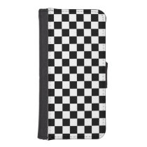 Black and White Check pattern iPhone SE/5/5s Wallet
