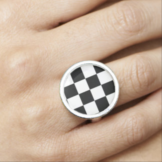 Black and White Check pattern Photo Ring