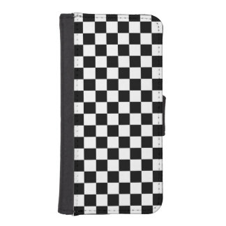 Black and White Check pattern Phone Wallet Case