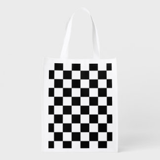 Black and White Check pattern Reusable Grocery Bag