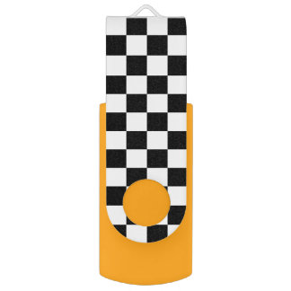 Black and White Check pattern Swivel USB 2.0 Flash Drive