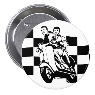 Black and white check scooter riders button