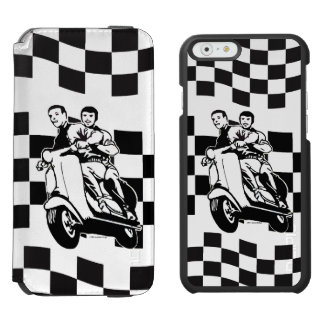 Black and white check scooter riders iPhone 6/6s wallet case