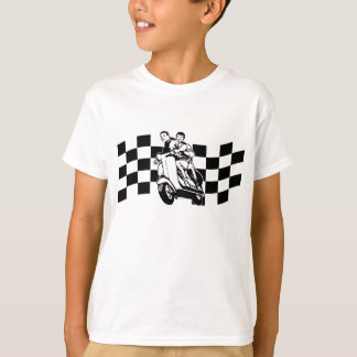 Black and white check scooter riders T-Shirt