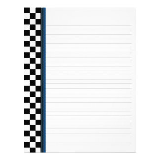 Black and White Check with Blue Accent Binder Letterhead