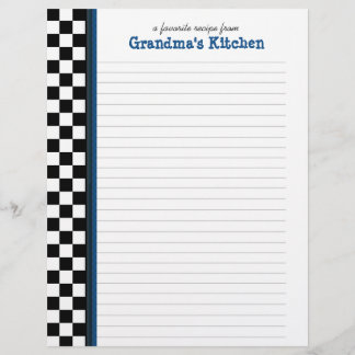 Black and White Check with Blue Accent Recipe Page