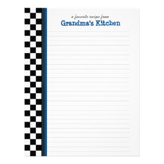 Black and White Check with Blue Accent Recipe Page Letterhead