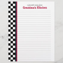 Black and White Check with Red Accent Recipe Page