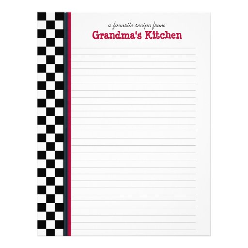 Black and White Check with Red Accent Recipe Page Customized Letterhead