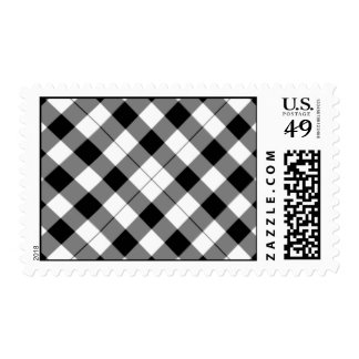 Black and white checked background postage stamp