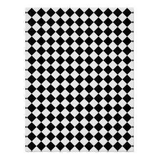 Black and White Checked Design Poster
