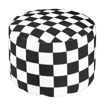 Black and White Checked Pouf