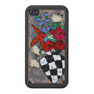 black and white checked vase with flowers iPhone c iPhone 4/4S Cases