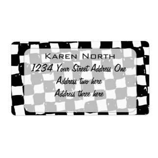 Black and White Checker abstract Label