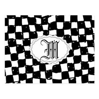 Black and White Checker abstract Postcards