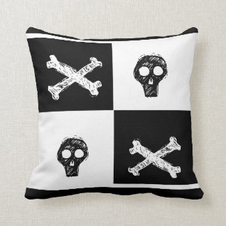 black and white checker board  pattern throw pillow