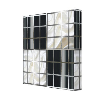 Black and White Checker Board Silver Abstract Canvas Print