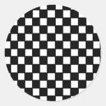 black and white checker classic round sticker