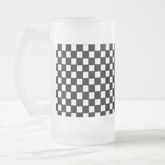 black and white checker frosted glass beer mug