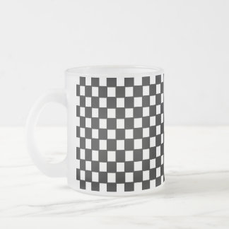 black and white checker frosted glass coffee mug