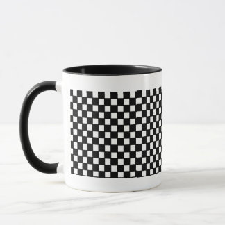 black and white checker mug
