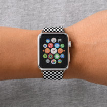 Black and White Checker Pattern Apple Watch Band