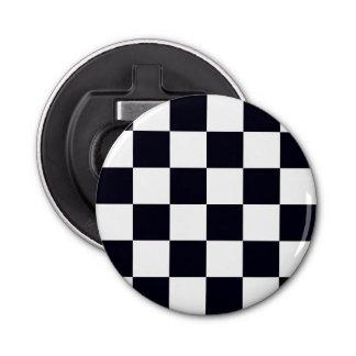 Black and White Checker Pattern Bottle Opener