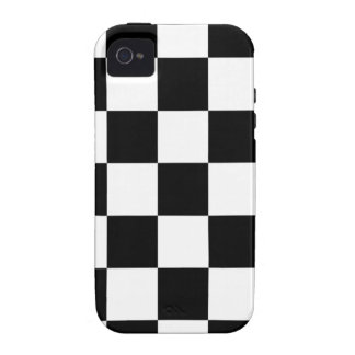 Black and White Checker Pattern Vibe iPhone 4 Covers