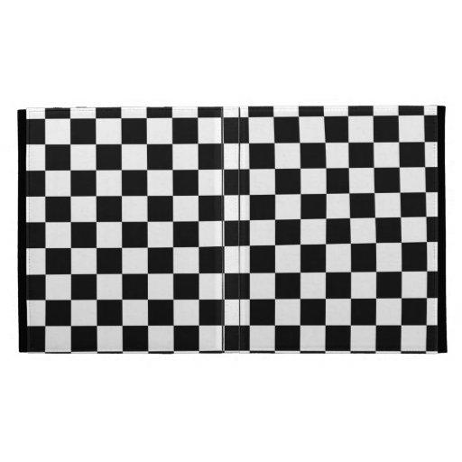 Black and White Checker Pattern iPad Folio Case