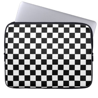 Black and White Checker Pattern Computer Sleeves
