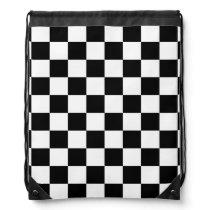 black and white checker pattern drawstring bag