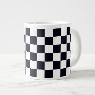 Black and White Checker Pattern Giant Coffee Mug