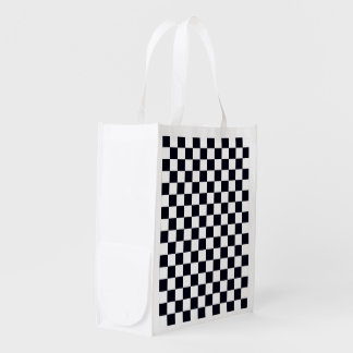 Black and White Checker Pattern Grocery Bag