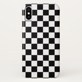 Black and White Checker Pattern iPhone X Case