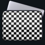 "Black and White Checker Pattern Laptop Sleeve<br><div class=""desc"">Cool black and white checkered pattern design</div>"