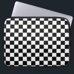 "Black and White Checker Pattern Laptop Sleeve<br><div class=""desc"">Cool black and white checkered pattern design</div>"