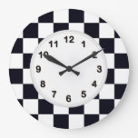 Black and White Checker Pattern Large Clock