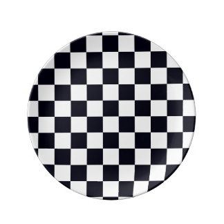 Black and White Checker Pattern Porcelain Plate